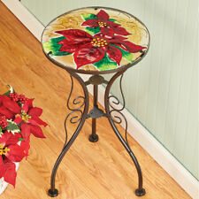 Stunning Bright Red Poinsettias Glass Christmas Indoor/Outdoor Accent End Table