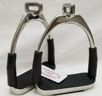 4.75 INCH OFFSET HORSE FLEXIBLE SAFETY SILVER STIRRUPS POLISH RIDING BENDY IRONS
