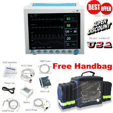 "Portable Patient Monitor Vital Signs 6-parameter ICU 12.1""screen,free handbag"
