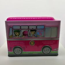 Pink School bus Student car Canned Kid Toy piggy bank Save Coin holder Free Ship