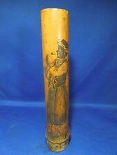 Vintage West India Regiment Jamaica Bamboo Jar Vase Holder w/ Scrimshaw Etching