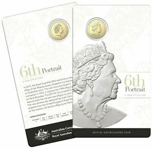 2019 Australia $1 UNC Carded Coin - 6th Portrait A New Effigy Era