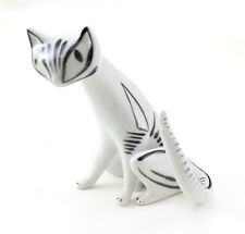 Vintage Hungarian Hollohaza Porcelain Art Deco Cat Figurine Hollohaza Cat