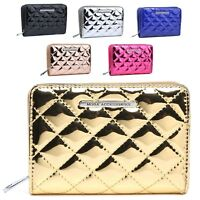 Ladies Quilted Mock Patent Leather Bridal Party Purse Wallet Handbag M1083-322