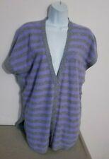 Pure Amici Gray/Purple CASHMERE Poncho Cardigan Sweater Sz M, Roomy +
