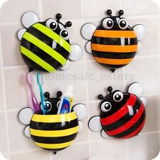 Bee Suction Cup Pocket Toothbrush Toothpaste Holder Bathroom Wall Mount Stand