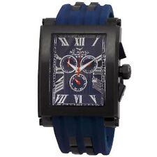 NEW Aquaswiss 64XG014 Mens TANC XG Black Rectangular Navy Blue Rubber Watch XL