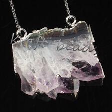 Silver Natural Amethyst Quartz Cluster Druzy Crystals Random Pendant Necklace