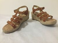 MICHAEL KORS Strappy Sandals Platform Wedges Heels Tan/Brown Leather Fits 6/6.5