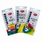 10x 12ml Tubes Pack De Huile Acrylique Couleur Eau Peintures Set Art Artisanats