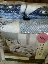 Max Studio Coastal Collection Patchwork Nautical King quilt 2 Standard Shams nwt