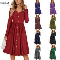 Women Casual Solid O-Neck Long Sleeve High Waist A-line Dress M5BD