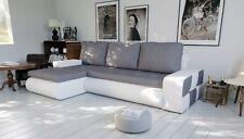 corner sofa bed bonnel  living room white leather grey fabric storage