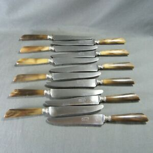 "Antique French Horn Knives Silver Blade & Collars by ""Belorgey - Auxerre"" 12 pcs"