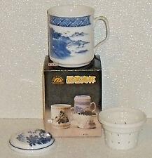 Tea Infuser Strainer Mug Cup Porcelain Vtg New In Box Blue Mountains 3 Pcs