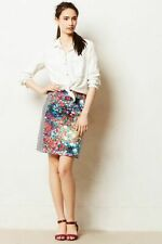 Anthropologie Tabitha Meadow Lined Pencil Skirt Womens Size 6 Floral Strips