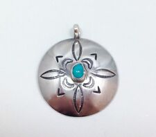 Native American Round Stamped Concho Shield Turquoise Pendant Sterling Silver