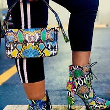 BAGUETTE Purse Multi Color Faux Snake Short Strap Detachable Long Strap Handbag