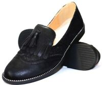 Ladies New Sparkly Black Lace Slip-On School/Office Loafers with Fringe Tassel