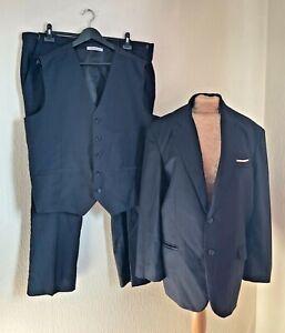 Hanayome Mens Navy 3 Piece Suit Jacket Waistcoat Trousers UK Size XL