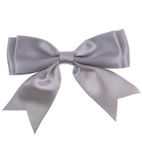 Silver Grey - Large 25mm Satin Ribbon Ready Made Craft Double Bows - Pack of 5