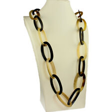 Natural real buffalo horn chunky oversized large oval shape link long necklace