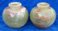 "Pair of 5""x5"" Multugreen round onyx vases"