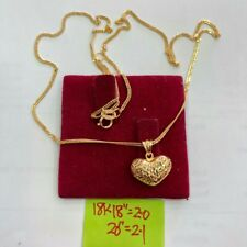 """Gold Authentic 18k gold heart necklace 20"""" chain"""
