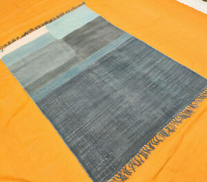 Hand Woven Rug Contemporary Kilim Dhurrie Modern Block Printed Area Rug 4X6 ft