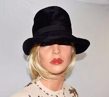 Vintage 50's 60's Splendid Black Imported Fur Deep Crown Roll Rim Hat Size S/M