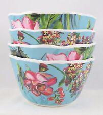 222 Fifth 4 Hummingbird flowers melamine appetizer dipping dessert bowls floral
