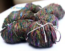 100 gm Fingering  weight  Recycled Sari Silk Yarn-Hand Spun-Multi Color -Grab It