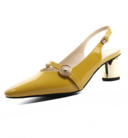 Womens Fashion Patent Leather Pointed Toe Block Heel Slingback Court Shoes SZ L