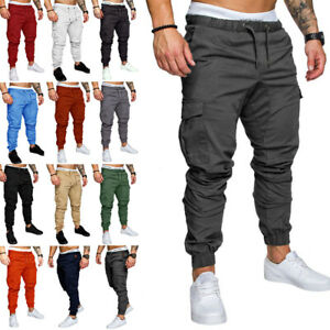 Mens Elasticated Waist Cargo Slim Fit Work Trousers Casual Bottoms Jogger Pants