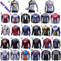 BJJ Rash Guard MMA Long Sleeve Tight Wear Superman Batman Spider man Hero Men