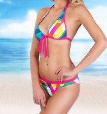 adidas Beach Graphic Pink Green Yellow Halter Neck Bikini Top Briefs 8 10 S 38