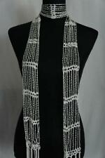 NWT!! Crochet Beaded Rhinestone Gem Scarf Necklace Wrap Belt Fringe White