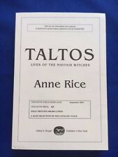 TALTOS - UNCORRECTED PROOF SIGNED BY ANNE RICE
