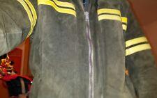 ♤ Retro Wildlederjacke 90er, Gr.52, braun mit gelber Streifen ♤