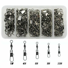 100pcs Fishing Barrel Swivels With Interlock Snap Set Fishing Tackle Connectors