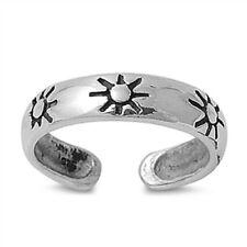 Adjustable Solid 925 Sterling Silver Sunrise Design Toe Ring (4mm)