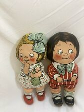 Vintage Dolly Dingle Dolls by Dean's Rag Knock About Toy Boy and Girl Campbell's