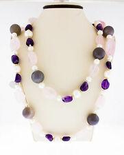 14K Yellow Gold Rose Quartz Purple Amethyst Grey Chalcedony Spacers Necklace 39""