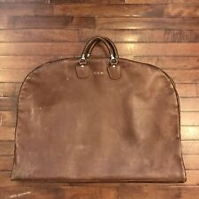 Vintage 50s Leather Tote Bag Folding Travel Garment Satchel, Atlantic Products