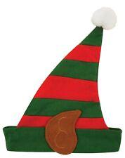 CHRISTMAS ADULT ELF HAT WITH EARS SANTA LITTLE HELPER FANCY DRESS NOVELTY PARTY