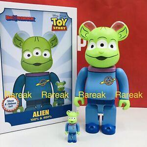 Medicom Bearbrick Disney Toy Story 3 eyed Alien 400% + 100% Be@rbrick set