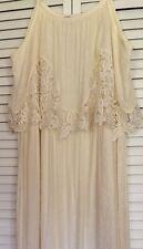 1X New Lace Ruffle Antique White Ivory Maxi Dress Boho 14/16/18
