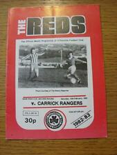 12/02/1983 Cliftonville v Carrick Rangers [Northern Ireland Cup]  (Item has no a
