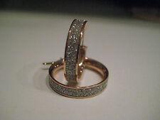 9ct ORO ROSA NUOVA cerchio glitter effetto polvere lunare Diamante orecchini