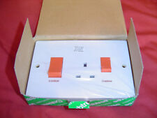 COOKER SWITCH double with 13amp socket  45amp 169x115 4520/1